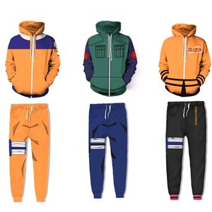 Naruto 3D Hoodie Shippuden Hokage Uzumaki Costume Cosplay Pullover Hoodies Jacket Men Women Naruto Sweatshirt Pant Clothes Sets MX200813