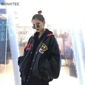 Jackets Women Funny Cartoon Embroidery Harajuku Thicker Faux Leather Coat Trendy Simple Student Coat Womens Korean High Quality