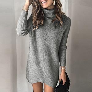 Autunno Inverno Caldo Retro Rib Maglione Vestito da donna elegante dolcevita manica lunghi abiti casual Abito Pullover Streetwear