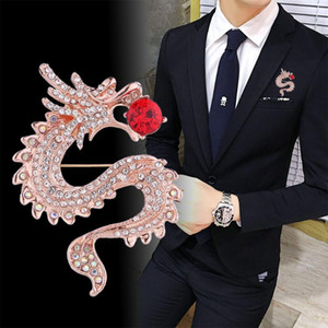 High-grade Trendy Dragon Animal Brooches Gold Crystal Rhinestone Men's Suit Lapel Pin Christmas Gifts Wedding Dress Accessories