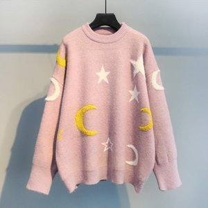 H.SA Korean Style Women Pull and Sweaters 2019 New Stars Moon Casual Jumper for Women Sweet Knitwear Pink Sweater and Pullovers