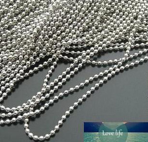 Wholesale- 100pcs Silver Plated Alloy Dog Tags Ball Chain Necklaces 2.4mm Bead stainless bead chain Dog Tags FG1