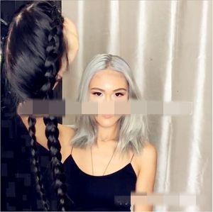 European and American style black long hair hand braided twist braid chemical fiber hair big braid wig double braid headgear