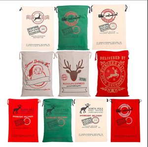 Sacs cadeaux de Noël Père Noël sacs en toile cordonnet sacs de sucrerie de Noël Sacs cadeaux Reindeers d'impression sac de rangement de Noël Décorations LSK833