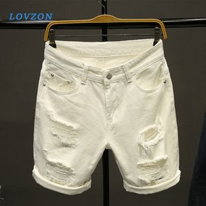 LOVZON hombres blancos pantalones cortos de mezclilla nuevo verano agujeros hombres ponen en cortocircuito algodón se extiende casual pantalones cortos de mezclilla