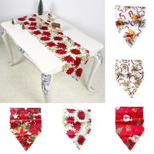 New Christmas Bell Flower Santa Decor Tablecloth Party Dining Table Runner Cover