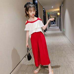 2020 2020 Summer New Girls Costume robe d'été en mousseline de soie une épaule jambe large 9 Pantalon Pointe super coréen des Affaires étrangères Deux Piece Set De 17 $ Vj3X #