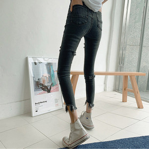 High Waist Hips Tight Jeans Female Sense Europe And The United States 2020 Spring Summer Slim Feet Pants white Nine Pants long