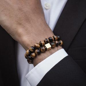 NAIQUBE Herren-Armband 10mm Perlen-Armband 2020 FashionClassic Stein Perlen Armbänder Charme-Armbänder für Männer Schmuck Geschenk