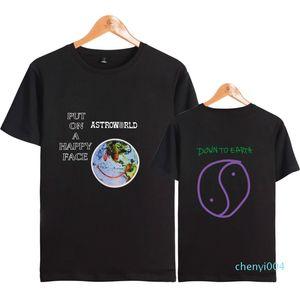 Astroworld Happy Face T-shirts 2018 Nouveautés Hommes Hip Hop Vêtements Travis Scott Merch monde imprimé visage T-shirts C04
