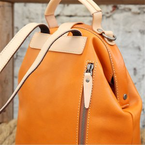 New-Genuine Leather Luxury Backpack New Fashion School Bags