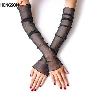 Female Thin Mesh Gloves Women Girls Gloves Silk Sleeve Driving Sun Protector Women Long Arm Glove