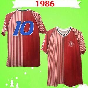 1986 Dinamarca World Cup Retro Fútbol Jersey 86 91 National Team Home Red Michael Laudrup Elkjær Berggreen Vintage Vintage Camisa de Fútbol
