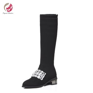 Intention originale d'âge mûr Cuissardes femme cristal Paillettes Rivets Talons mi Knights Bottes ronde Toe Shoes Femme Taille plus