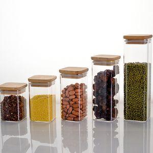 Прозрачное стекло площади для хранения продуктов Канистры Clear Кувшины Бутылочки для зерновых культур Фасоль Орехи Стеклянные бутылки с бамбуком крышкой