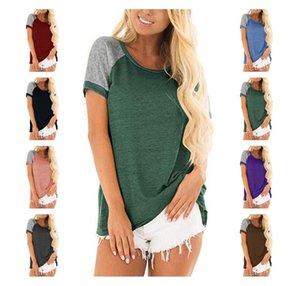 G0WKn 2020 printemps et T-shirt Coiffe Haut de femmes d'été coiffe couture T-shirt à manches courtes pour les femmes