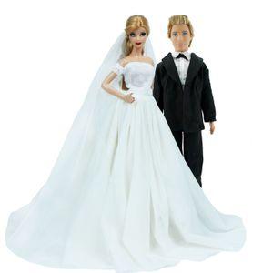 2 sets = 1x fiesta de la boda vestido de princesa vestido con velo + 1x Negro novio traje ropa para Barbie, Ken muñeca de juguete de bricolaje