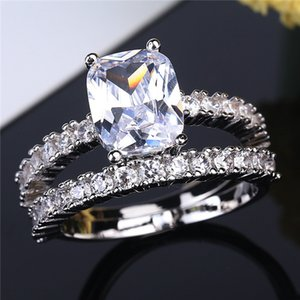 New Hot Luxury Jewelry 6MM Round Cut Topaz 925 Sterling Silver CZ Diamond Solitaire Wedding Engagement Women Band Ring h0201