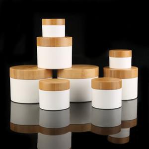30g 50g 250g 150ML / 150G Üst düzey Ahşap Kapak Pot PP Jar boşaltın, Bambu Cap Plastik Beyaz / Kahverengi Kavanoz, Kozmetik Krem Kutusu n Bambu Cap