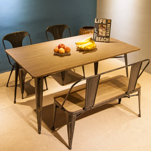3-5 days Fast Shipping TREXM Antique Style Rectangular Dining Table with Metal Legs, Distressed Black PP036324DAA