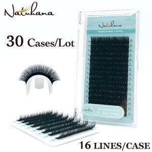 NATUHANA 도매 30Cases / 부지 16Rows 천연 밍크 단일 속눈썹 연장 개별 가짜 거짓 눈 속눈썹 연장