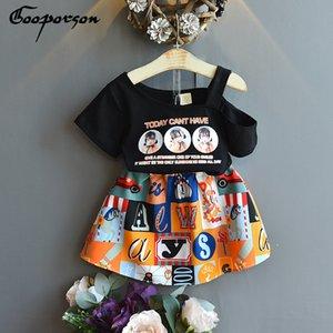 Gooporson Mode Little Girls Vêtements Set d'impression de l'épaule Topskirt coréenne mignonne Tenues enfants tout-petits vêtements de vacances