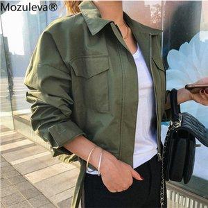 Mozuleva New 2020 Sommer-Herbst-Frauen-Jacke beiläufige Taschen Modische Cargo-Lace Up Zipper Oberbekleidung kurze Tops femme