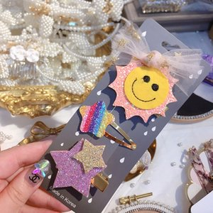 capelli faccia HD2300A1 coreano nuovo disco paillettes nodo Amore Arcobaleno smiley clip di BB paillettes bambini bambino paillettes lato clip