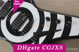 Incomum Forma Guitarra El éTrica Preta Com C íRculo Branco, palisandro, Ferragens Pretas, Oferecendo Servi COS Personalizados