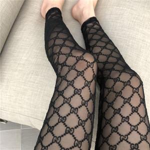 Nakış Klasik Harf Tayt Şık Çizgili Mesh Sıkı Kadınlar Seksi Ayak bileği Tayt Yüksek Uyluk İnce Tozluklar Üzeri Diz çorap