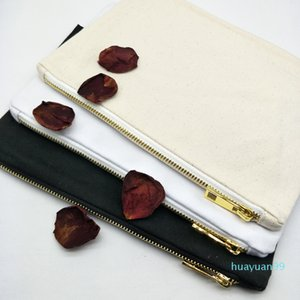 Toiletry Zip Canvas Makeup Blank Bag Cosmetic Color Lining Golden With New-7x10in Matching Bag Black white ivory Stock Available Phbgr