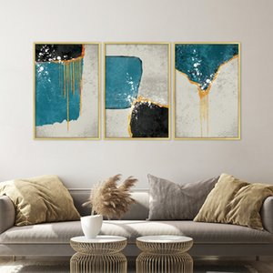 Abstract Blue e Black Blocks Quadro Moda poster Stampa strana cosa Wall Art Per Soggiorno Cuadros Home Decor