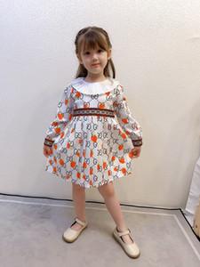 Diseñador de ropa niños niñas fresa impresa letra de los niños del vestido de la colmena de la solapa de manga larga vestido de letra de los niños vestidos plisados S545