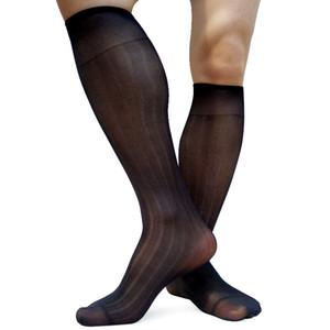 Meias terno formal para homens Joelho Elastic Marca listrado Mens Sheer fina meias ver através do tubo Gentlemen Negócios