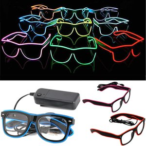 Einfache EL-Gläser El Draht Mode Neon LED leuchten Shutter Shaped Glow Sun Glasses Rave-Kostüm-Party DJ Heller Sonnenbrille GWE637