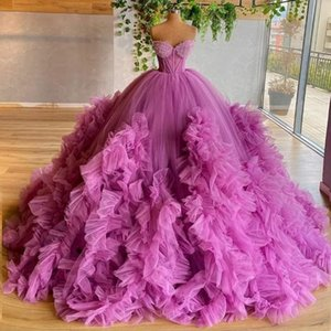 Chic Ball Gown Prom Dresses Sweetheart Exposed Boning vestido de novia Ruffle Evening Dress Long Puffy Bottom Red Carpet Gowns