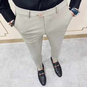Casual Slim Fit Mens Dress Pants Streetwear Full Length Suit Pants Men 34 High Quality Gentlemen Office Trousers Men All Match