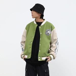 Оригинальная вышивка Бейсбольная куртка Мужчины и Женщины Color Match Негабаритные Ветровка Bomber Jacket Сыпучие Hip Hop Coat