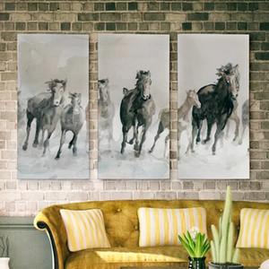 모듈 형 사진은 블랙 화이트 벽 아트 포스터 동물 홈 데코 거실 프레임 회화 말 Canvas 인쇄 3 세트를 실행
