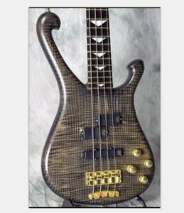 Personalizado Feito 4 cordas pescoço de cinzas através do corpo elétrico baixo guitarra, 24 trastes, importação de hardware de ouro China fez Bass