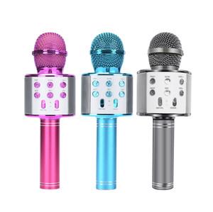 KTV Player Bluetooth Speaker microfono wireless Bluetooth WS858 palmare Karaoke Mic USB registrare musica microfoni WS858