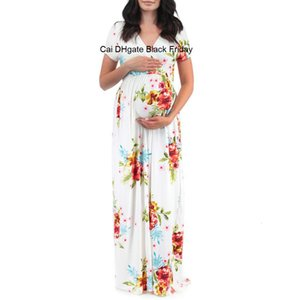 Maternity Dress Short Sleeve Pregnancy Dress Women Pregnants Maternity Clothes Floral Printed Beach Long Dresses Sundress M60