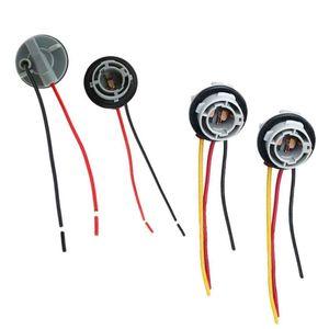 4 Pcs 15D Lamp Holder Bulbs P21 5W Adapter Base Socket Connector Plastic Car Accessories for Brake Light, 2 Pcs 1156 & 2 115