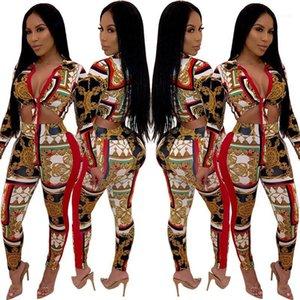 Calças MULIT Imprimir Womens Dois conjuntos de peças Sexy Skiny V Neck Dois Pants Pedaço Bow Womens Two Tie Moda Pedaço
