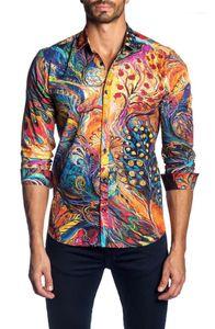 Long Sleeve Fashion Top Slim Fit Male Shirt Mens Irregular Color Print Shirt Spring Casual Lapel Neck