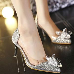 Sparkly spillo Cristalli tacco scarpe da sposa per la sposa in rilievo tacchi di design di lusso Cenerentola pompe Poined Toe Shoes Strass da sposa