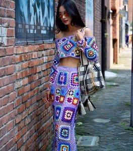 Makuluya Лето Руководство Женщины выдалбливают Вязаные рукавов Топы Юбки Vintage Bohemian жаккарда вышивки Chic праздник L6