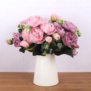 1 bouquet 5 cabeças Peony Artificial Tea Rose Flores Camellia Silk falsificação flor flores para DIY Início Jardim Decoração do casamento