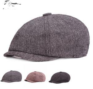Casquette Four Seasons Cotton And Linen Black Men's Newsboy Hat Male Beret Men And Women Retro England Visor Big Head Cap
