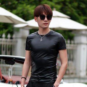 Personnalité Hot Men New coréenne manches courtes T-shirt Homme Tide Round Fashion Neck PU Brochage T-shirts Robe Hommes Noir S-4XL